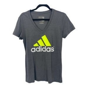 Adidas Womens M Gray Green V Neck Feel Good Tee